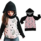 Toddler Baby Girl Unicorn Hoodie Tops Hooded Sweatshirt T-shirt Clothes Outdoor Outfits