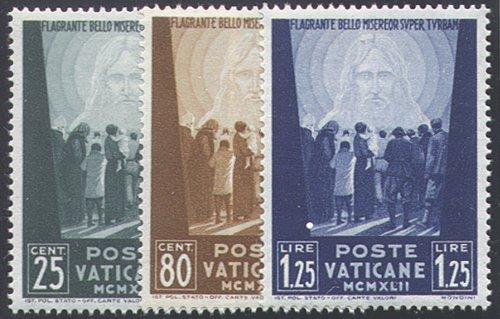 Goldhahn Vatikan 1942 postfrisch Nr. 89-91 Briefmarken für Sammler