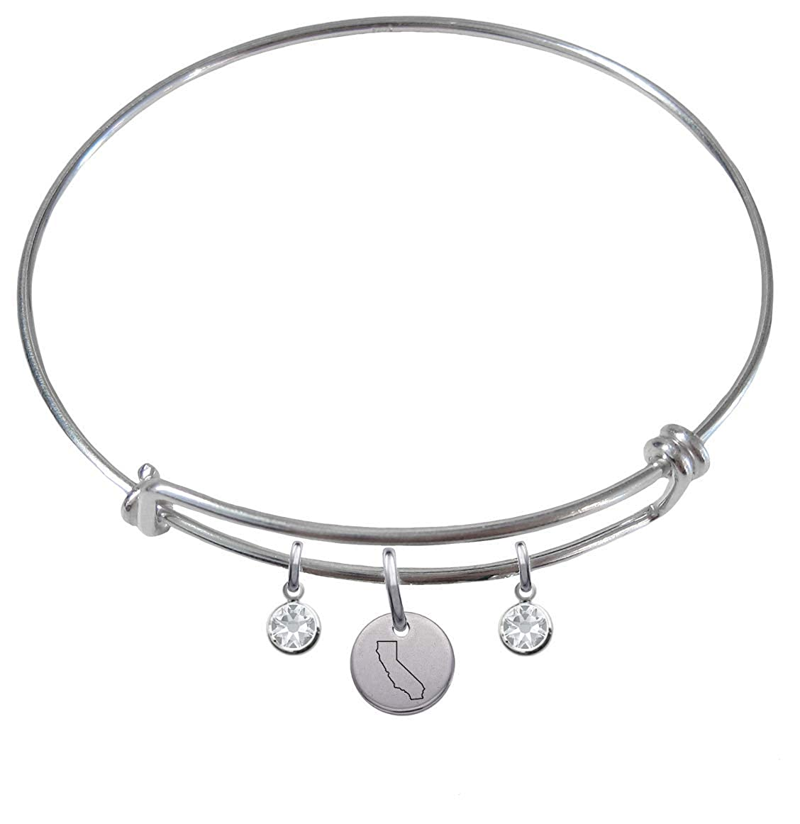 CustomCharms California State Expandable Wire Charm Bracelet Bangle w//Clear Color Crystals