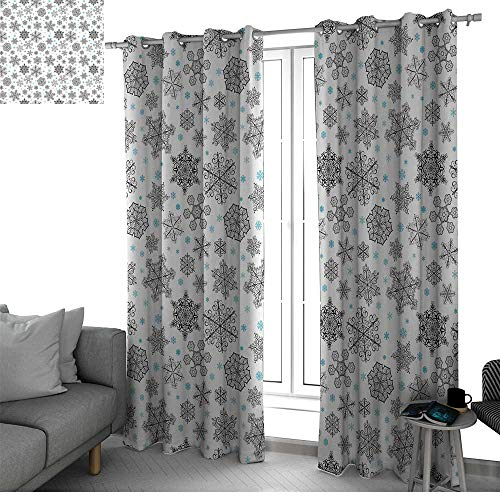 Snowflake Room Darkening Noise Reducing Blackout Curtain for Bedroom/Living Room Sliding Door Curtains Lace Style Arrangement of Snowflakes Winter Season Christmas Illustration country curtain (Screen Celestial Fireplace)