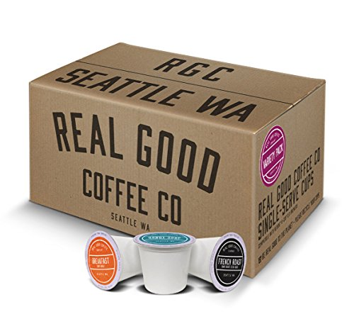 Real Good Coffee Co Recyclable K Cups, Variety Pack, Keurig 2.0 and 1.0 Compatible, 72 Single Serve Coffees