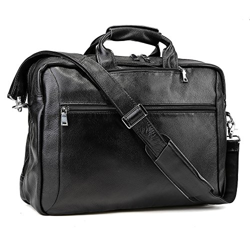 Tiding Men's Genuine Leather Backpack Multi-purpose Laptop Messenger Shoulder Weekend Luggage Duffle Gym Bags Briefcase (Black 17 inch) by Tiding