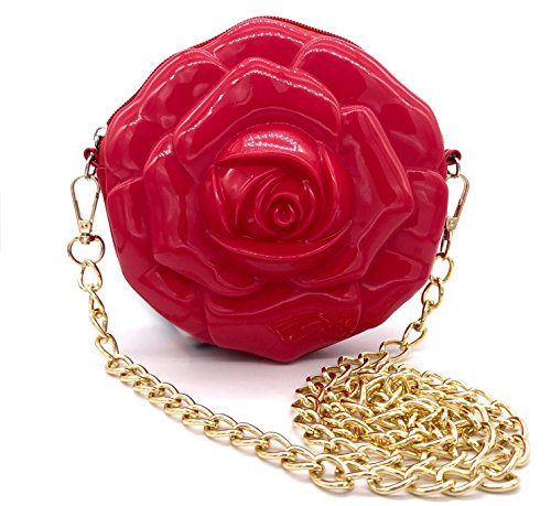 [MISASHA Flower Crossbody Fashion Bag for Girls (Red) Trendy Jelly Purse with Gold Chain | Teens, Youth | Fun, Colorful,] (Medusa Childs Halloween Costume)