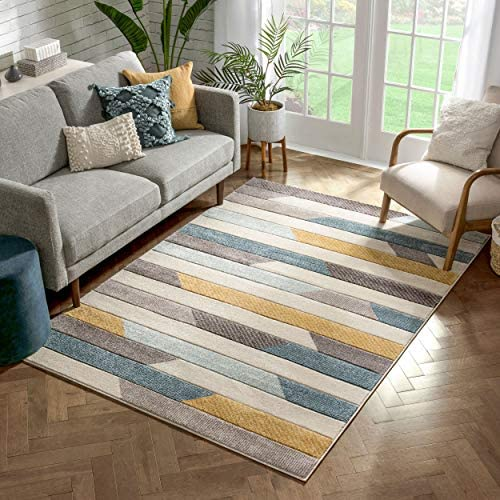 Well Woven Sammi Blue Gold Modern Geometric Striped Beveled Pattern Area Rug 8×10 7'10″ x 9'10″