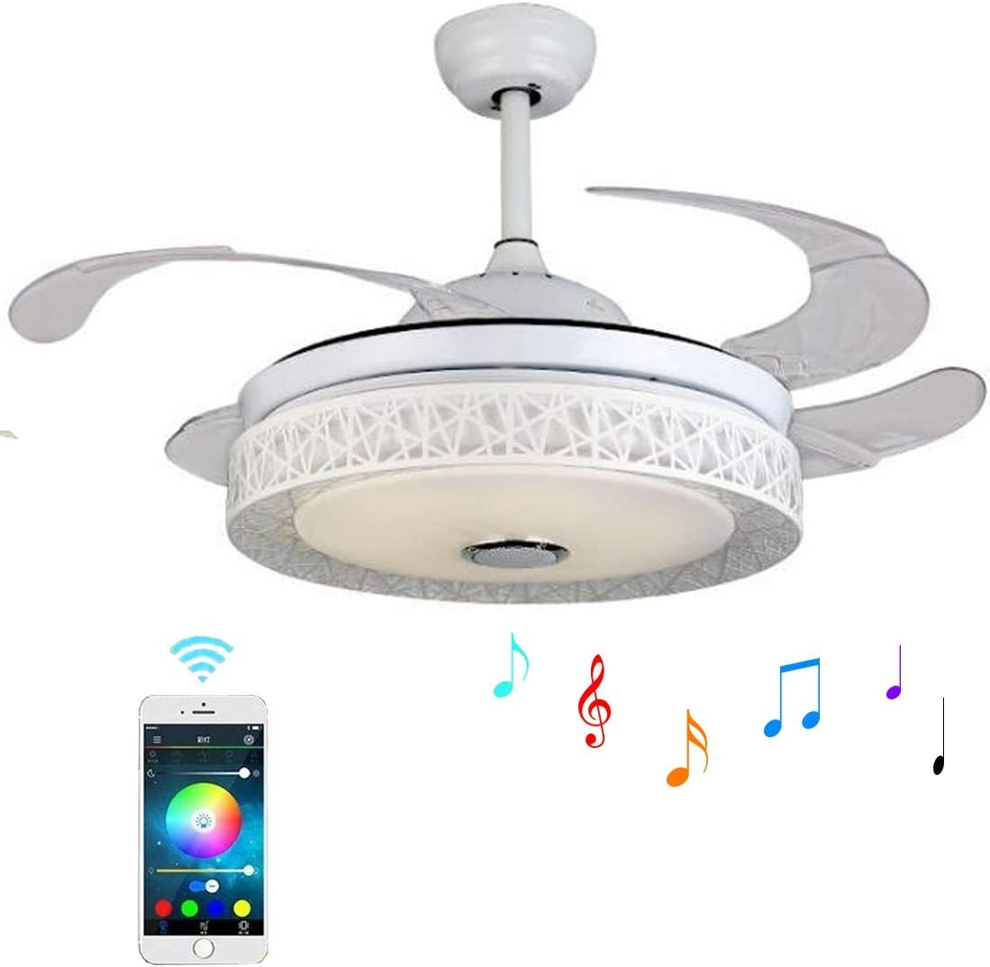 LUOLAX Multi-Function Bluetooth Remote Control Music Ceiling Fan Chandelier LED Invisible Retractable Blades Ceiling Fan Light for Restaurant Study Room Living Room Bedroom 42-Inch Style 2