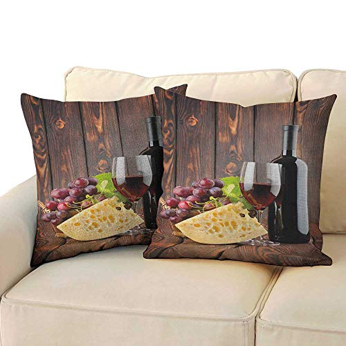 Wine,Soft Pillowcases Red Wine Cabernet Bottle and Glass Cheese and Grapes on Wood Planks Print 16
