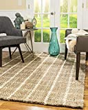 neutral living room Natural Area Rugs 100% Natural Fiber Handmade Basketweave Chunky Angelina Jute Rectangular Rug (5' X 8') Beige