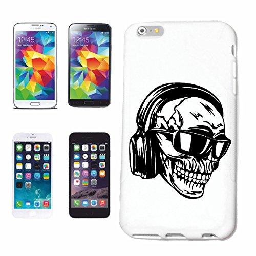 caja del teléfono iPhone 6+ Plus Cráneo con los auriculares y gafas de sol funky jazz TECHNO TRANCE ALMA CASA FESTIVAL HIPHOP DJ HIP HOP Caso duro de la cubierta Teléfono Cubiertas cubierta para el