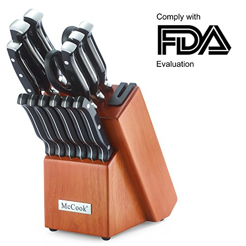 McCook MC23 14 Pieces FDA Certified High Carbon Stainless Steel kitchen knife set with Wooden Block, All-purpose Kitchen Scissors and Built-in Sharpener(Cherry (Cherry Knife Block)