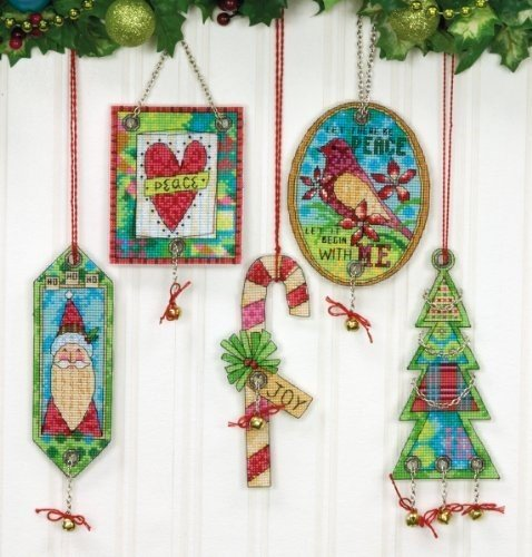 Jingle Bell Ornaments Counted Cross Stitch Kit - 14 Ct