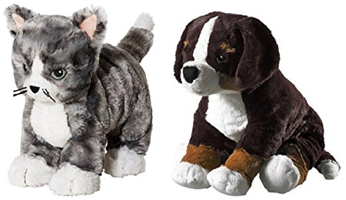 (Ikea Kitten Cat Soft Toys and HOPPIG Puppy Stuffed Soft Toy Bundle - Includes Ikea Stuffed Animal Kitten Cat Soft Toy (Small) and Ikea Hoppig Bernese Burmese Mountain Dog Puppy Stuffed Animal Soft Toy)