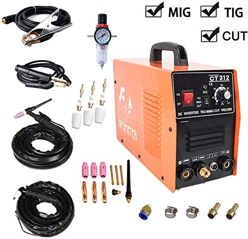 TOSENBA CT312 Plasma Cutter Tig MMA/Stick Welder 3 in 1 Combo Welding Machine, 30Amp Air Plasma Cutter, 120A TIG/Stick Welder, Dual Voltage 220V/110V DC Inverter