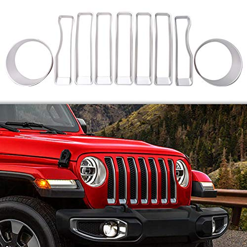 BOXATDOOR Front Gloss Silver Mesh Grille Grill Inserts & Headlight cover Trim for 2018 Jeep Wrangler JL Sport/Sports Jeep Accessories