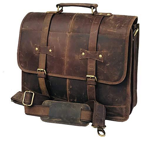 16 Inch Vintage Handmade Leather Messenger Bag for Laptop Briefcase Best Computer Satchel School Distressed Bag (Couture Satchel)