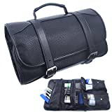 Samtour Hanging Toiletry Bag for Men Leather Travel Shaving Dopp Kit Organizer with Portable Travel Kit Organizer Case Waterproof Leak Proof Travel Accessories Black