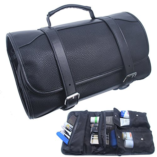Amazon.com : Hanging Toiletry Bag for Men Leather Travel Shaving Dopp Kit Organizer with Portable Travel Kit Organizer Case Waterproof Leak Proof Travel ...