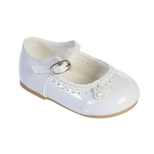b38bfb5ebc487 Girls White Braided Edging Flower Patent Leather Mary Jane Shoes 3 Baby
