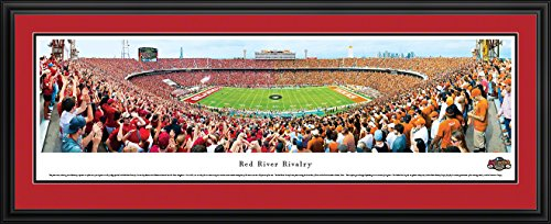 RED RIVER RIVALRY - END ZONE - U of Oklahoma - Deluxe Framed Panoramic Print with Double Mat