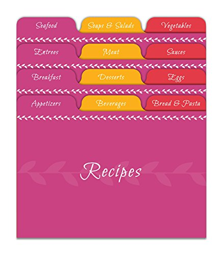 Jot & Mark Recipe Card Dividers | 24 Tabs per Set, Works With 4x6 Inch Cards, Helps Organize Recipe Box (Citrus)