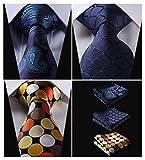 HISDERN Lot 3 PCS Classic Mens Tie Set Necktie & Pocket Square - Multiple Sets