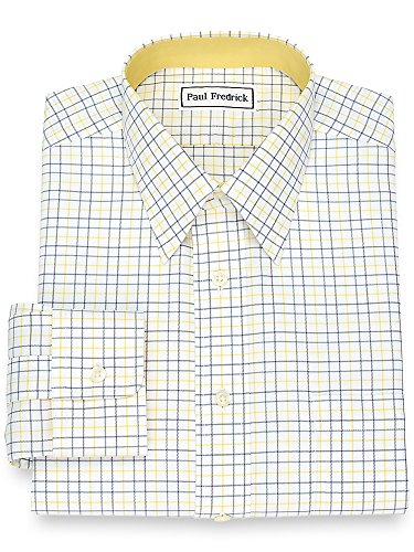Fredrick Paul Iron Non (Paul Fredrick Men's Non-Iron Cotton Tattersall Dress Shirt Grey/Yellow 17.5/34)