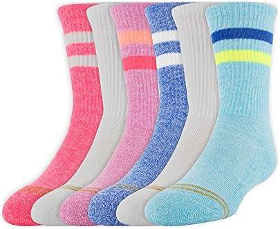 6 Pairs Gold Toe Girls Emmas Sport Stripe Crew Socks