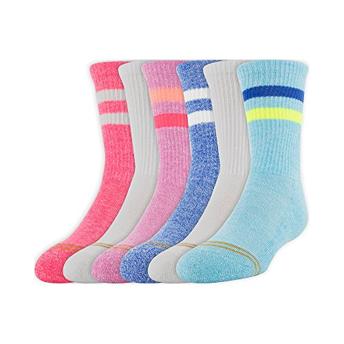 Gold Toe Girls' Big' Emma's Sport Stripe Crew Socks, 6 Pairs, aqua/white/blue/pink, Shoe Size: ()