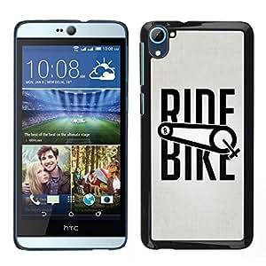 HTC Desire 826 dual Único Patrón Plástico Duro Fundas Cover Cubre Hard Case Cover - Ride Bike Bicycle Sport Exercise Cyclist