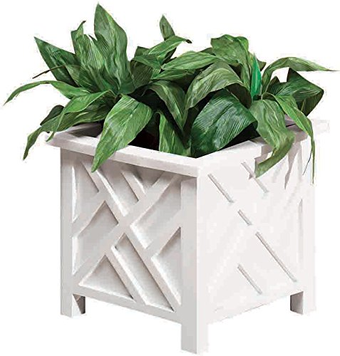 miles-kimball-chippendale-flower-planter-white