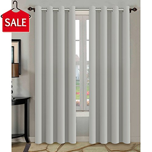 H.VERSAILTEX Window Treatment Blackout Thermal Insulated Room Darkening Solid Grommet Curtains/Drapes for Bedroom (Set of 2 Panels,52 by 84 Inch Long, Greyish - Curtain Pole Match