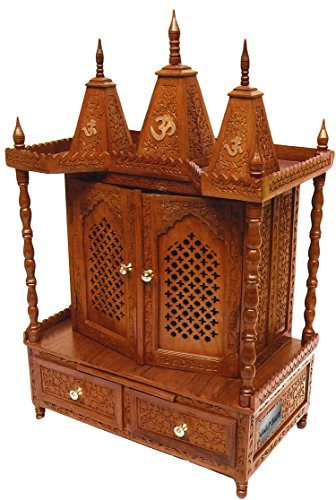 Buy Aarsun Handcrafted Rosewood Wooden Temple   Wooden Mandir with Doors  Online at Low Prices in India - Amazon.in 6fe6e163f