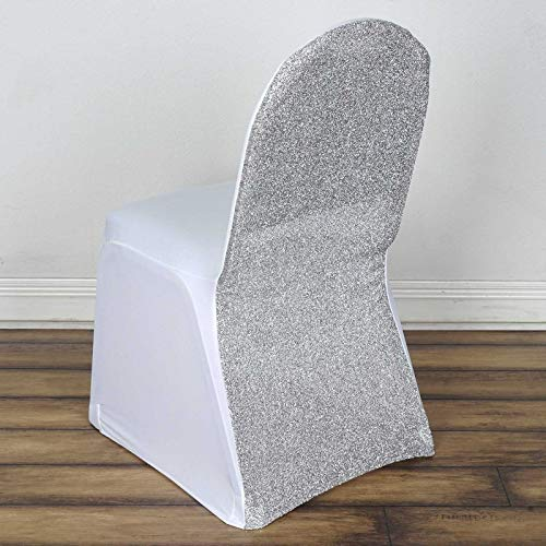 - Efavormart 20 PCS White/Silver Spandex Stretch Banquet Chair Cover with Metallic Glitte Dinning Event Slipcover for Party