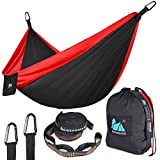 "Double Camping Hammock - Lightweight Nylon Portable Hammock,Parachute Hammock and Ropes Included Straps & Steel Carabiners For Backpacking, Camping, Travel, Beach, Yard, 125""(L) x 79""(W)(XL) (RED)"