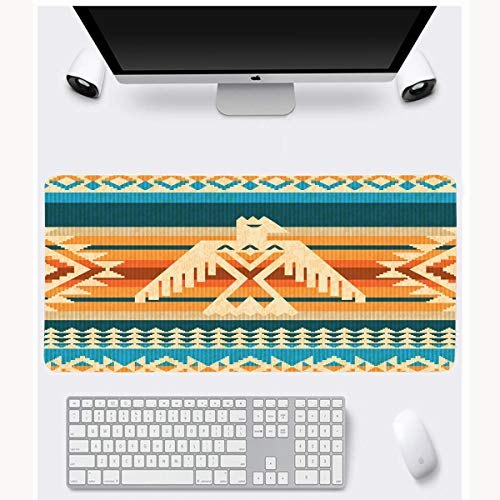 JAMRON Mousepad Oblong 11.8x35.4 Inches Striped American Navajo Abstract Pattern Eagle Prehistoric Thunderbird Ethnic Geometric Indian Native Non-Slip Rubber Mouse Pad Laptop Notebook
