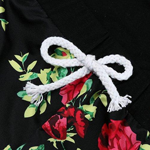 Saingace Bébé Garçon Fille Floral capuche Haut T-shirt +Pantalons courts Vêtements (Label Size:70(0-6mois))