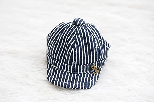 NACOCO Pet Cap Navy Striped Beret Dog Hap (Navy Beret, - Pet Cap Navy