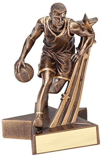 Male Basketball Resin - Male Basketball Gold Star Resin Trophy Award - Customize Now - Personalized Engraved Plate Included & Attached to Award - Perfect Male Basketball Award Trophy - Decade Awards