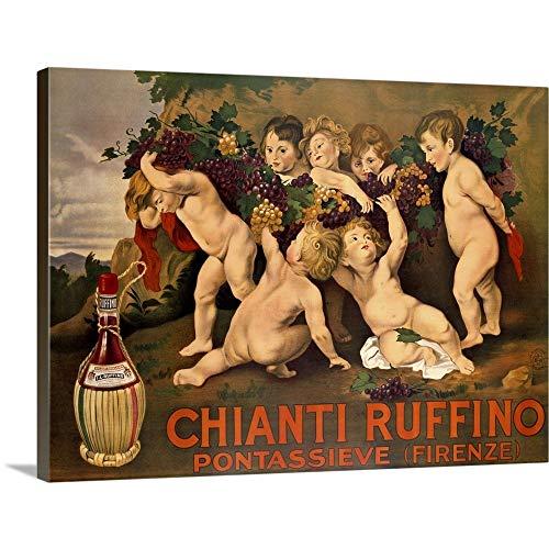 (Chianti Ruffino, Vintage Poster, by Leopoldo Metlicovitz Canvas Wall Art Print, 24