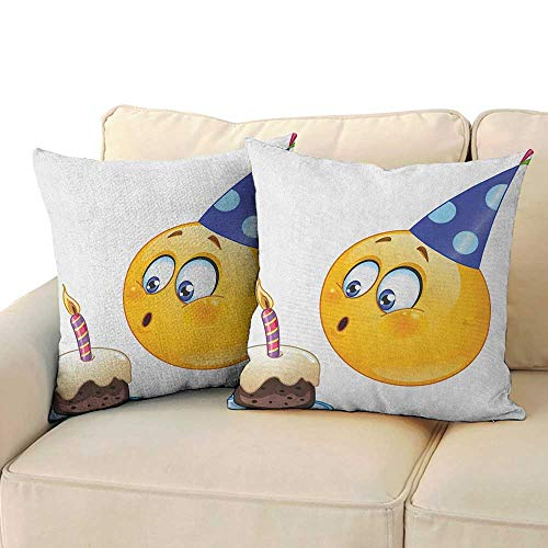 RenteriaDecor Kids Birthday,Pillow case Covers Happy Emoji Face Celebration with Cone Hat Blowing Party Cake Print 16