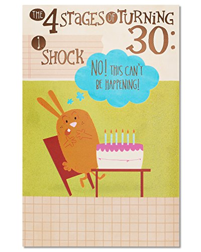 American Greetings Funny Four Stages 30th Birthday Greeting Card with Glitter and Foil