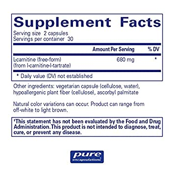 Pure Encapsulations – l-Carnitine – Hypoallergenic Supplement for Cardiovascular and Endurance Support* – 60 Capsules