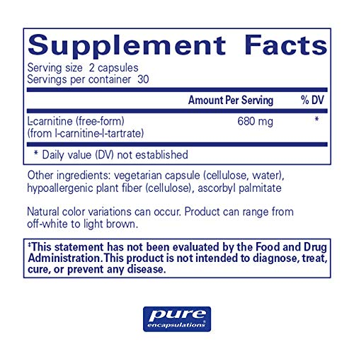 Pure Encapsulations - l-Carnitine - Hypoallergenic Supplement for Cardiovascular and Endurance Support* - 60 Capsules by Pure Encapsulations (Image #1)