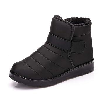 PAMRAY Botas Nieve Unisex Botines Invierno Zapatos Impermeable Calentado Forro Polar Velcro Calzado Plataforma Esquí Patinaje Boots Negro Marrón Vino-Rojo ...
