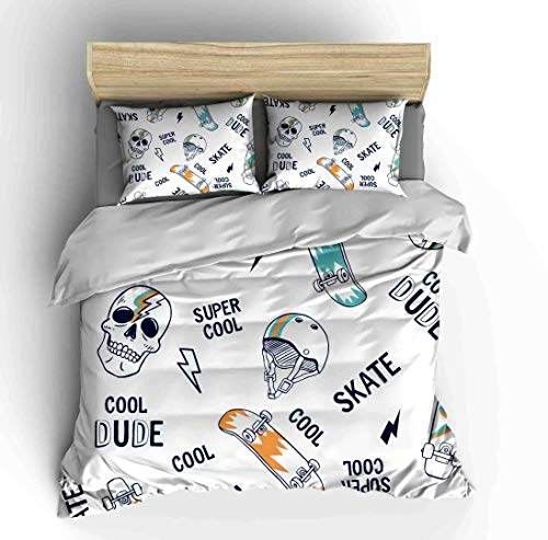 Abojoy Kids Decor Duvet Cover Set Queen Size, Hiphop Skating Sugar Skull with Skateboard and Helmets Halloween Festive Theme Print Bedding Set with 1 Quilt Cover + 2 Pillowcases, -