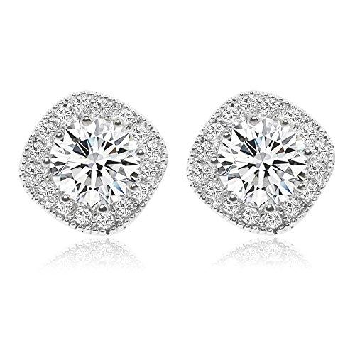 Cubic Zirconia Stud Earrings, Cat Eye Jewels S925 Sterling Silver Round Diamond Crystal Halo Earring - Eye Cat Logo