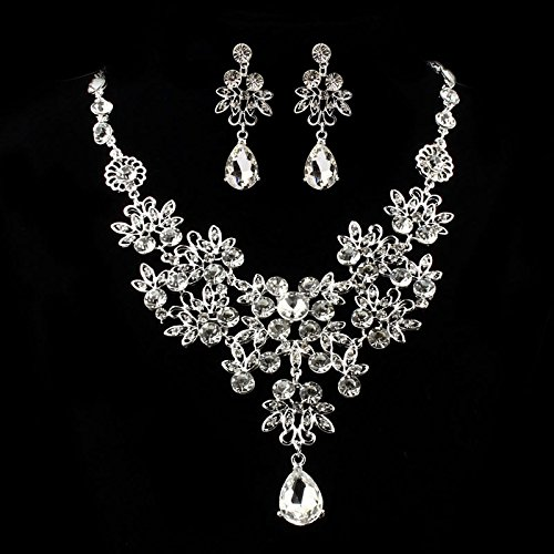 (Hotsale! Wensltd Women Wedding Bridal Fahion Prom Jewelry Crystal Rhinestone Necklace Earring Sets (White))