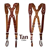 Clydesdale Pro-Dual Handmade Leather Camera Harness, Sling & Strap RL Handcrafts. DLSR, Mirrorless, Point & Shoot Made in The USA (Tan, Medium)