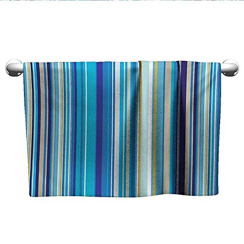 Stripe Repeating - alisoso Blue,Baby Towels Vertical Stripes Repeating Retro Revival Pattern Funky Abstract Composition Gym Towels for Women Mustard Blue White W 10