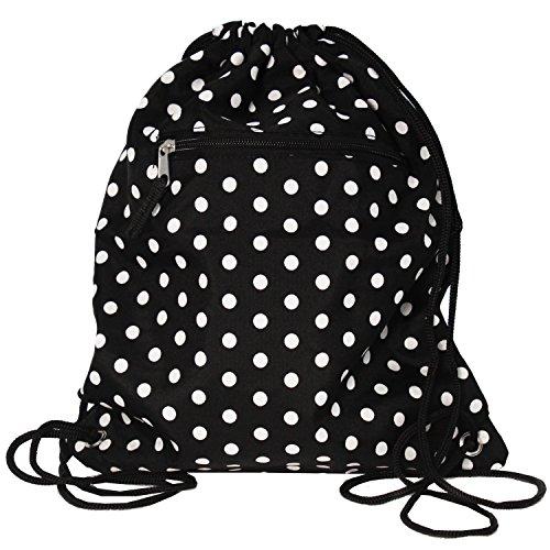 World Traveler 15 Inch Drawstring Backpack Bag, Black White