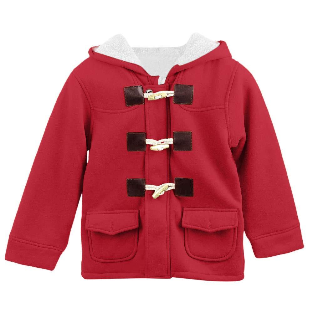 12c886a9a ... WARMSHOP Winderproof Coat Boys Girls 0-5T, Kids Long Sleeve Warm Winter  Horn Button ...